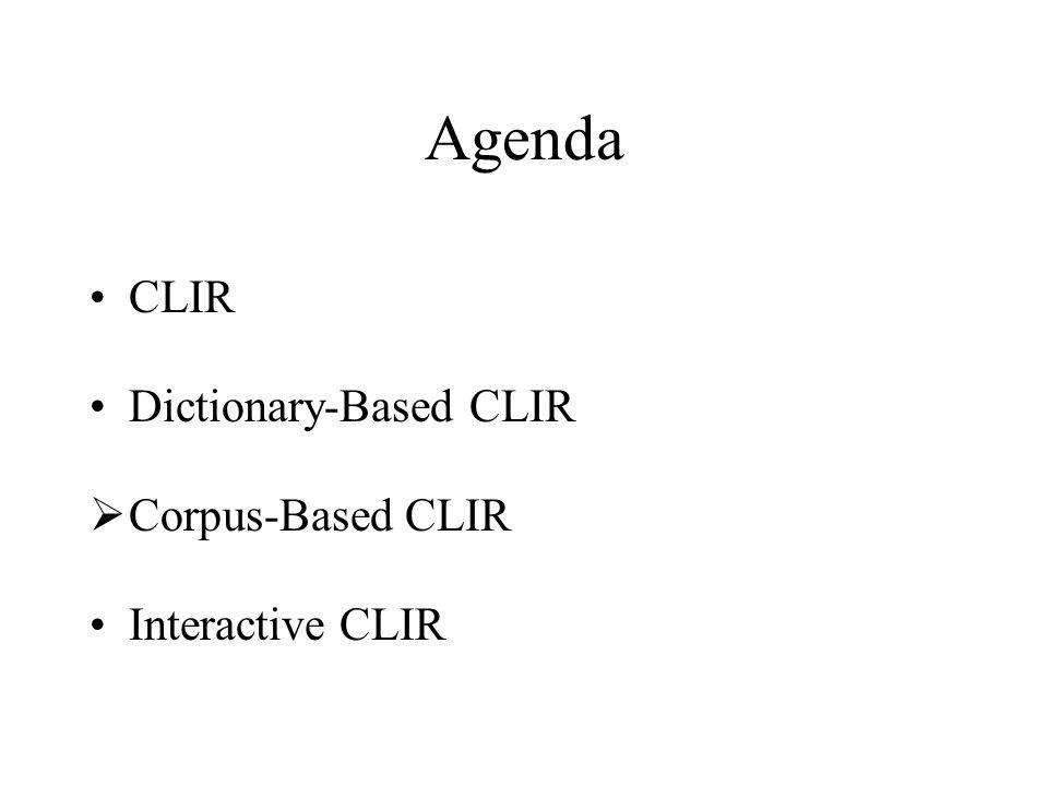 Agenda CLIR Dictionary-Based CLIR  Corpus-Based CLIR Interactive CLIR