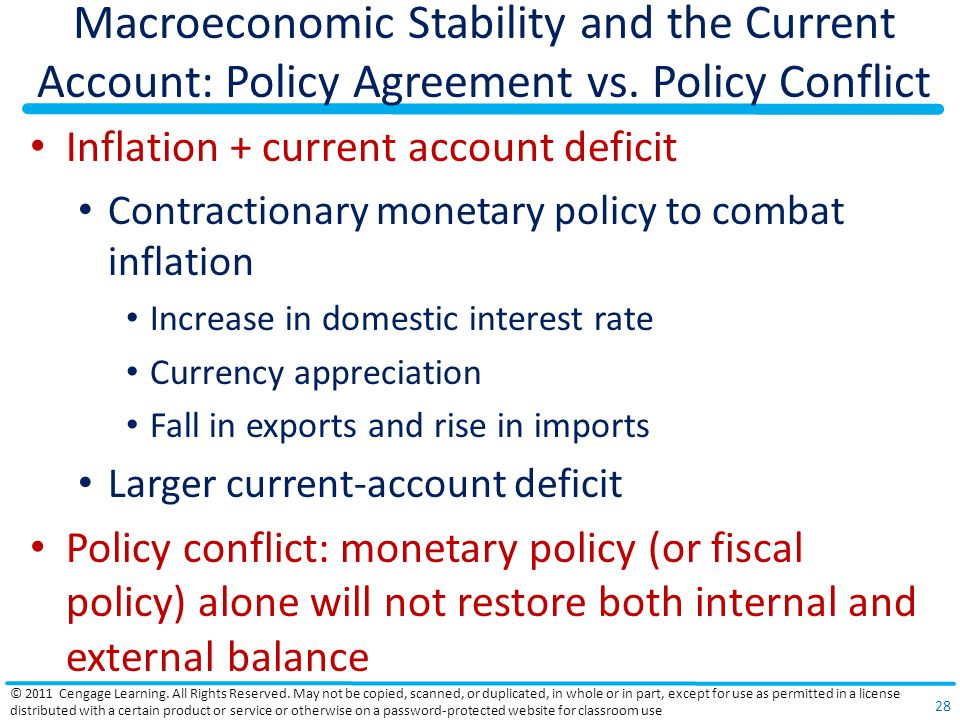 Macroeconomic Stability and the Current Account: Policy Agreement vs.
