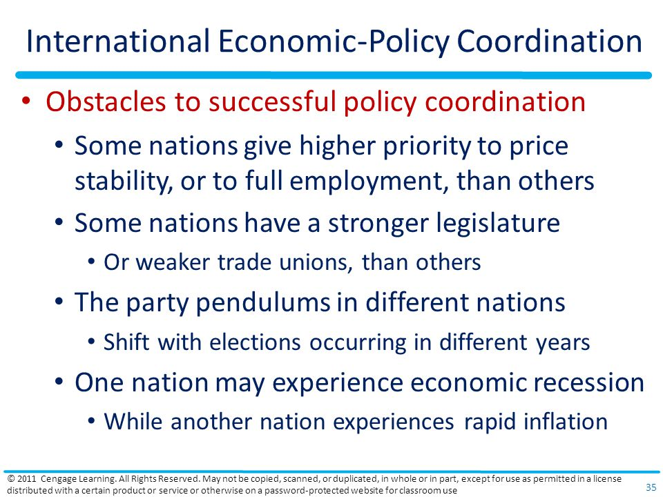 International Economic-Policy Coordination Obstacles to successful policy coordination Some nations give higher priority to price stability, or to full employment, than others Some nations have a stronger legislature Or weaker trade unions, than others The party pendulums in different nations Shift with elections occurring in different years One nation may experience economic recession While another nation experiences rapid inflation © 2011 Cengage Learning.