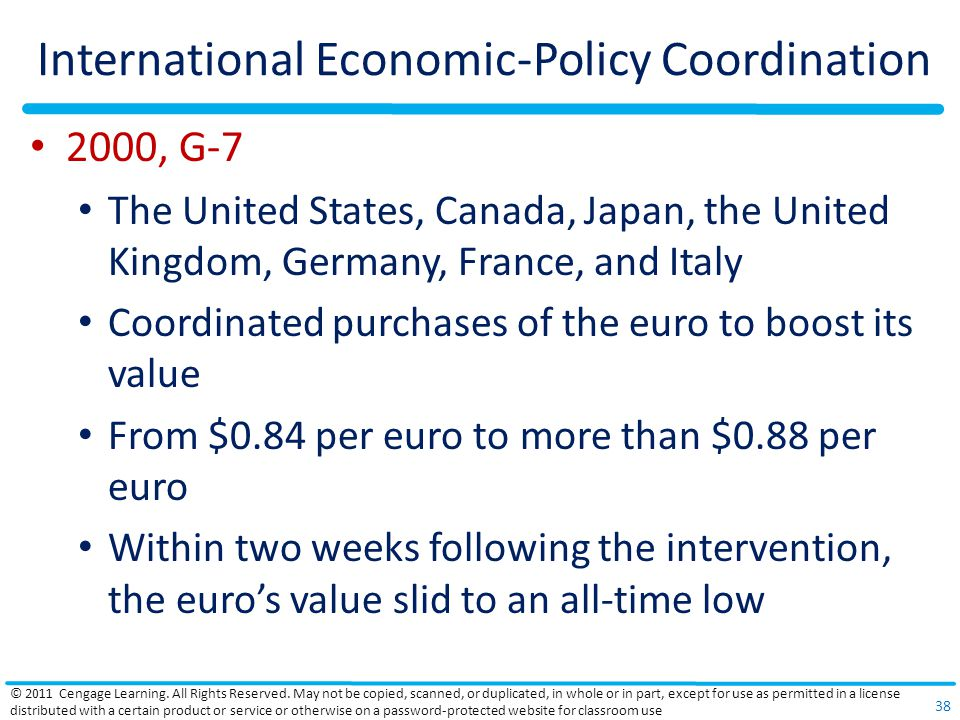 International Economic-Policy Coordination 2000, G-7 The United States, Canada, Japan, the United Kingdom, Germany, France, and Italy Coordinated purchases of the euro to boost its value From $0.84 per euro to more than $0.88 per euro Within two weeks following the intervention, the euro's value slid to an all-time low © 2011 Cengage Learning.