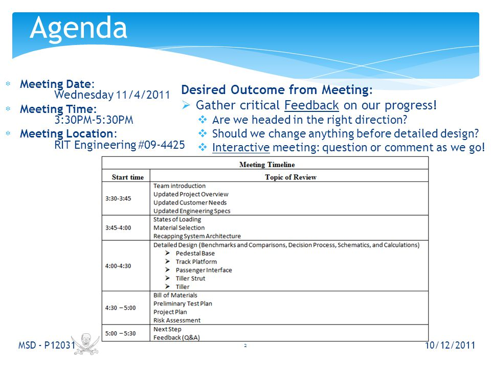  Meeting Date: Wednesday 11/4/2011  Meeting Time: 3:30PM-5:30PM  Meeting Location: RIT Engineering #09-4425 10/12/2011 MSD - P12031 Agenda 2 Desired Outcome from Meeting:  Gather critical Feedback on our progress.