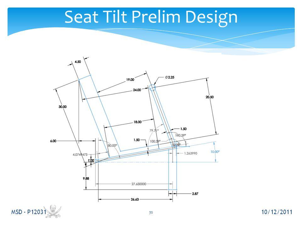 Seat Tilt Prelim Design 10/12/2011 MSD - P12031 35