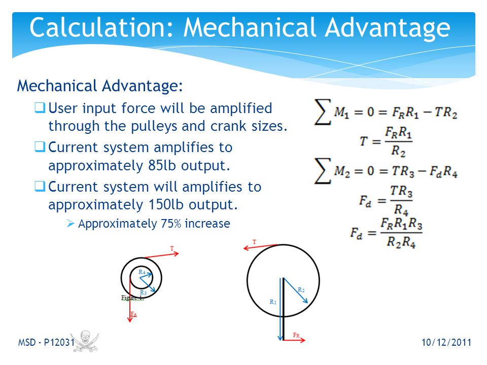 Mechanical Advantage:  User input force will be amplified through the pulleys and crank sizes.