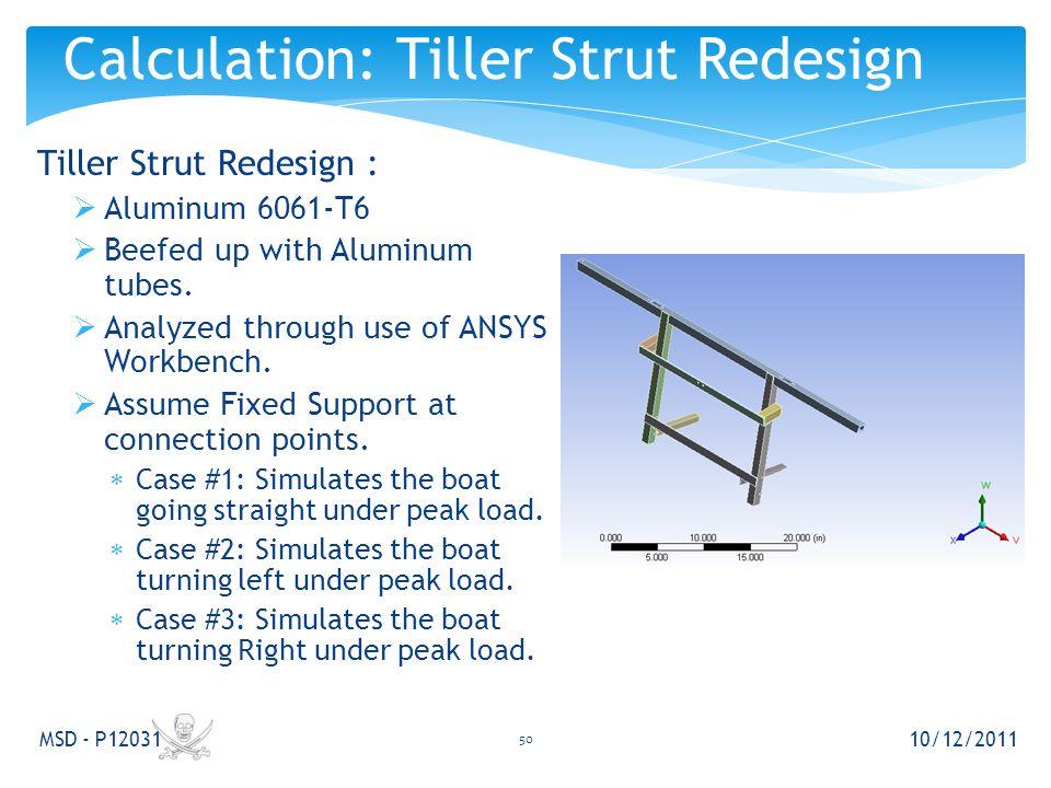 Tiller Strut Redesign :  Aluminum 6061-T6  Beefed up with Aluminum tubes.