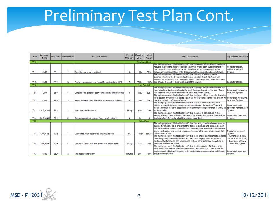 Preliminary Test Plan Cont. 10/12/2011 MSD - P12031 53