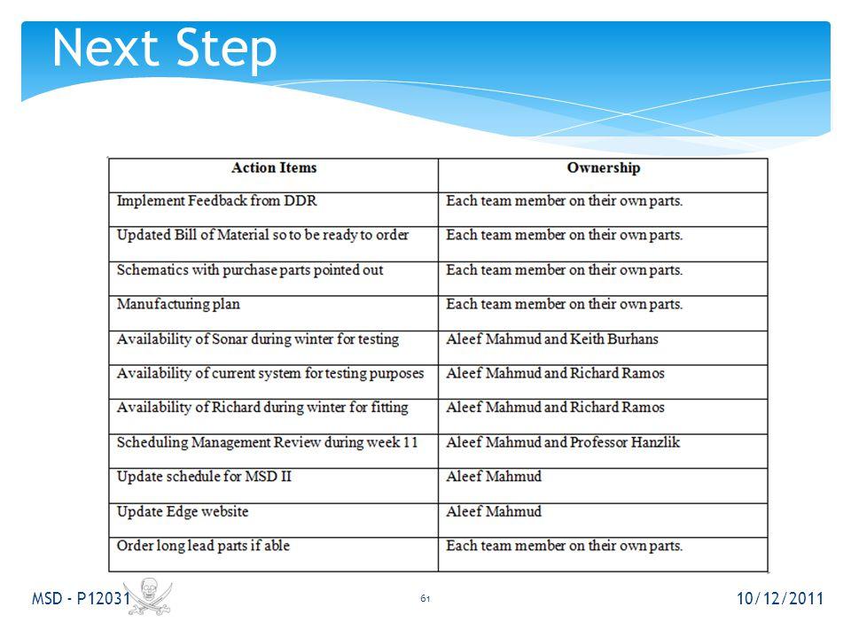 10/12/2011 MSD - P12031 61 Next Step