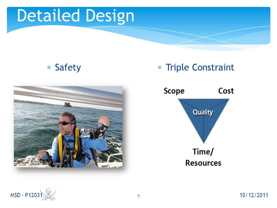  Safety 10/12/2011 MSD - P12031 9 Detailed Design  Triple Constraint