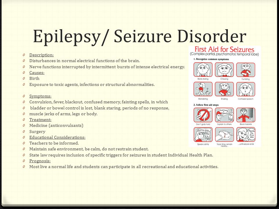 Epilepsy/ Seizure Disorder 0 Description: 0 Disturbances in normal electrical functions of the brain.