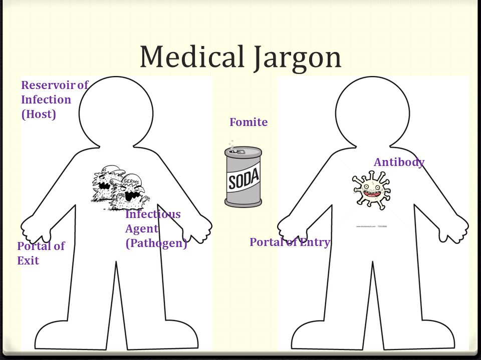 Medical Jargon Infectious Agent (Pathogen) Reservoir of Infection (Host) Portal of Exit Portal of Entry Fomite Antibody