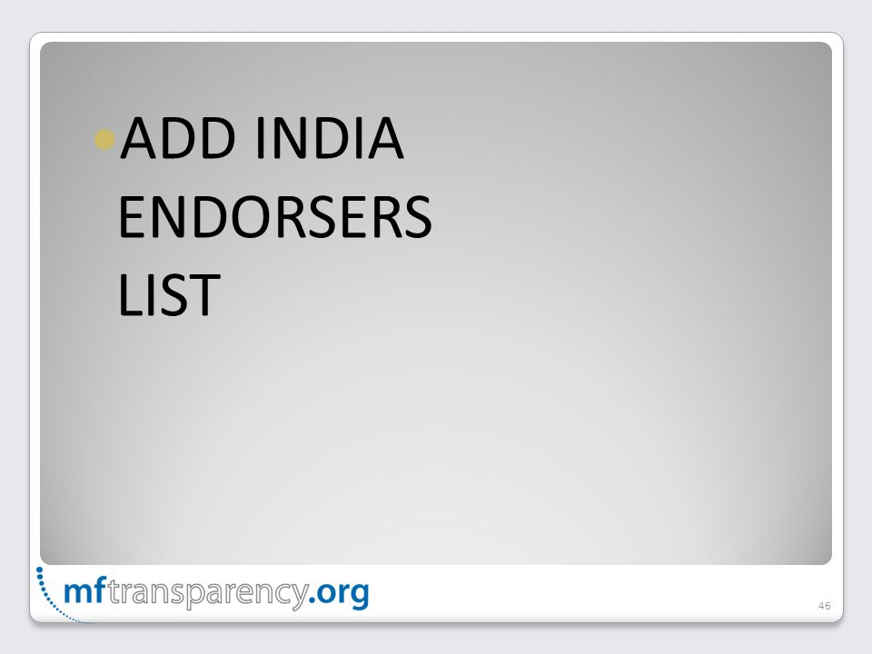 ADD INDIA ENDORSERS LIST 46