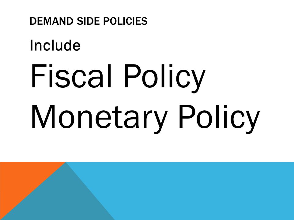 DEMAND SIDE POLICIES Include Fiscal Policy Monetary Policy