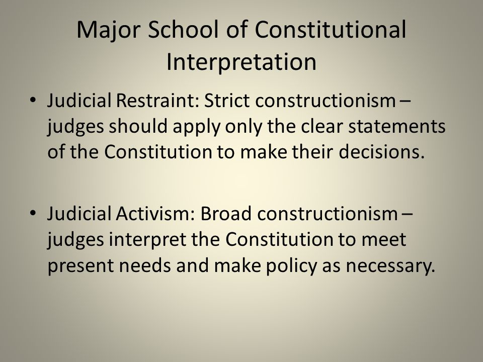 Major School of Constitutional Interpretation Judicial Restraint: Strict constructionism – judges should apply only the clear statements of the Consti