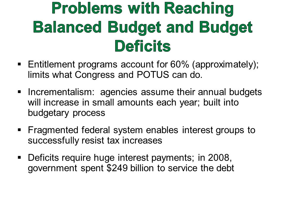  Entitlement programs account for 60% (approximately); limits what Congress and POTUS can do.