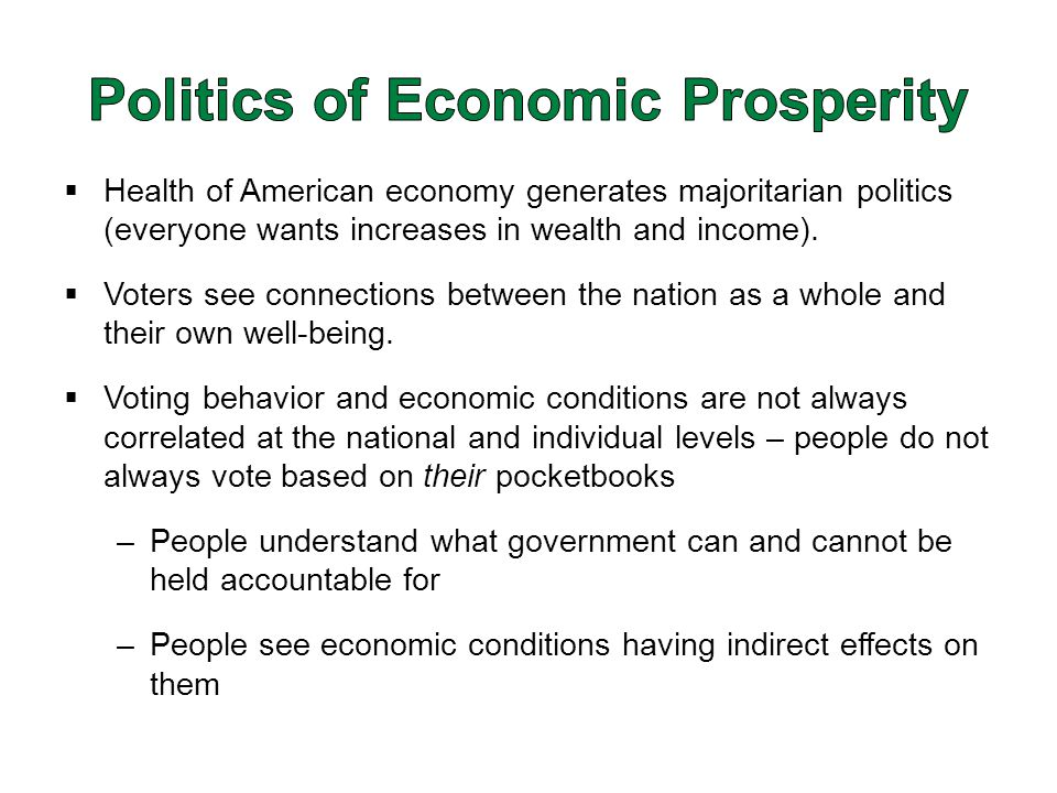  Health of American economy generates majoritarian politics (everyone wants increases in wealth and income).