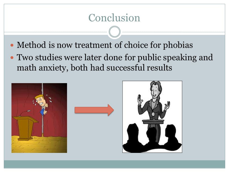 Conclusion Method is now treatment of choice for phobias Two studies were later done for public speaking and math anxiety, both had successful results