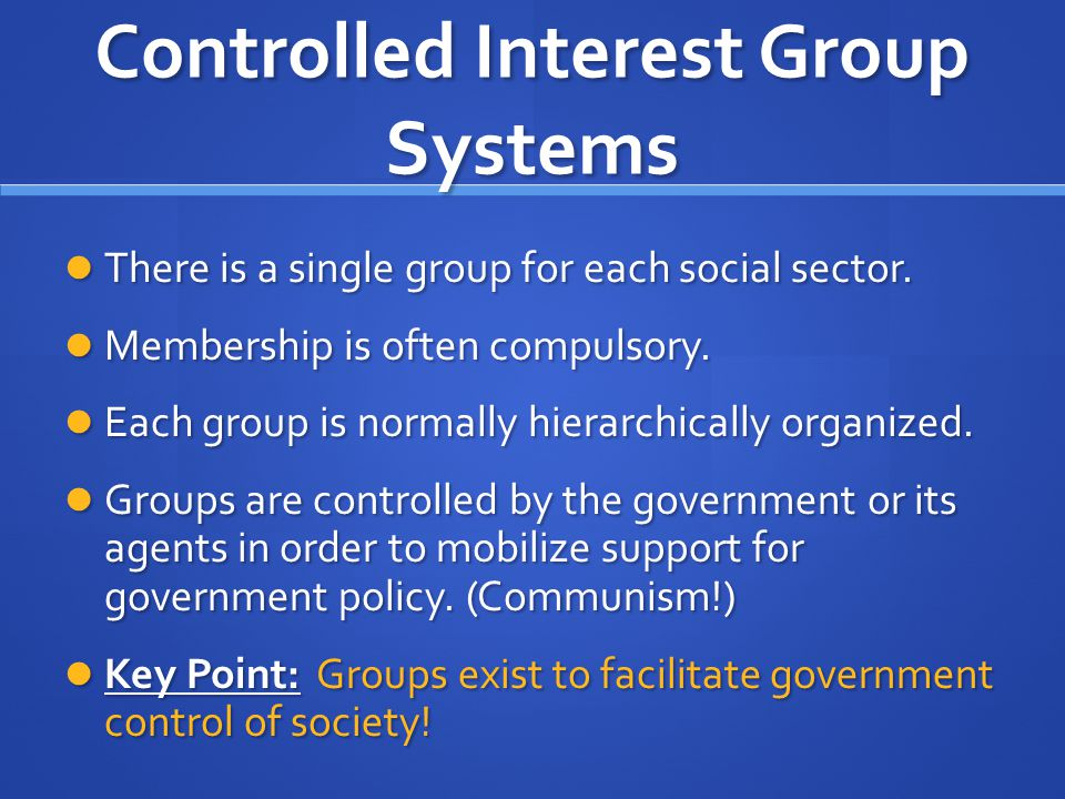 Controlled Interest Group Systems There is a single group for each social sector. There is a single group for each social sector. Membership is often