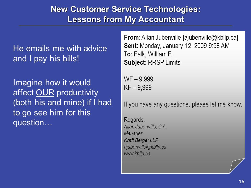 15 New Customer Service Technologies: Lessons from My Accountant He emails me with advice and I pay his bills.