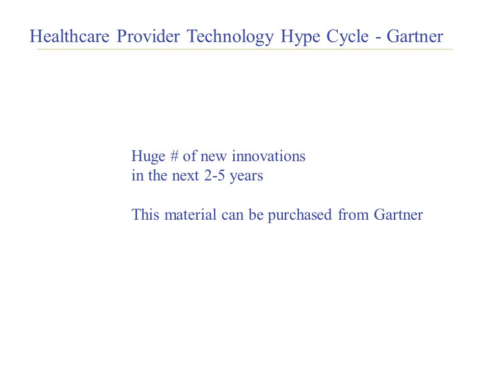 1717 Healthcare Provider Technology Hype Cycle - Gartner Huge # of new innovations in the next 2-5 years This material can be purchased from Gartner
