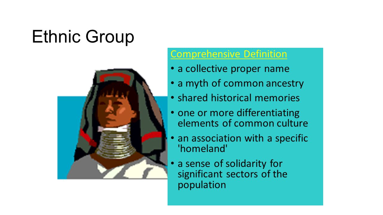 Ethnic Group Comprehensive Definition a collective proper name a myth of common ancestry shared historical memories one or more differentiating elements of common culture an association with a specific homeland a sense of solidarity for significant sectors of the population