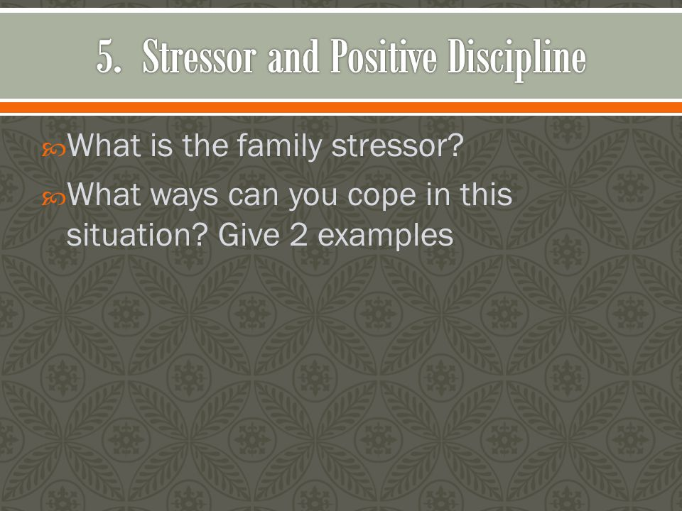  What is the family stressor?  What ways can you cope in this situation? Give 2 examples