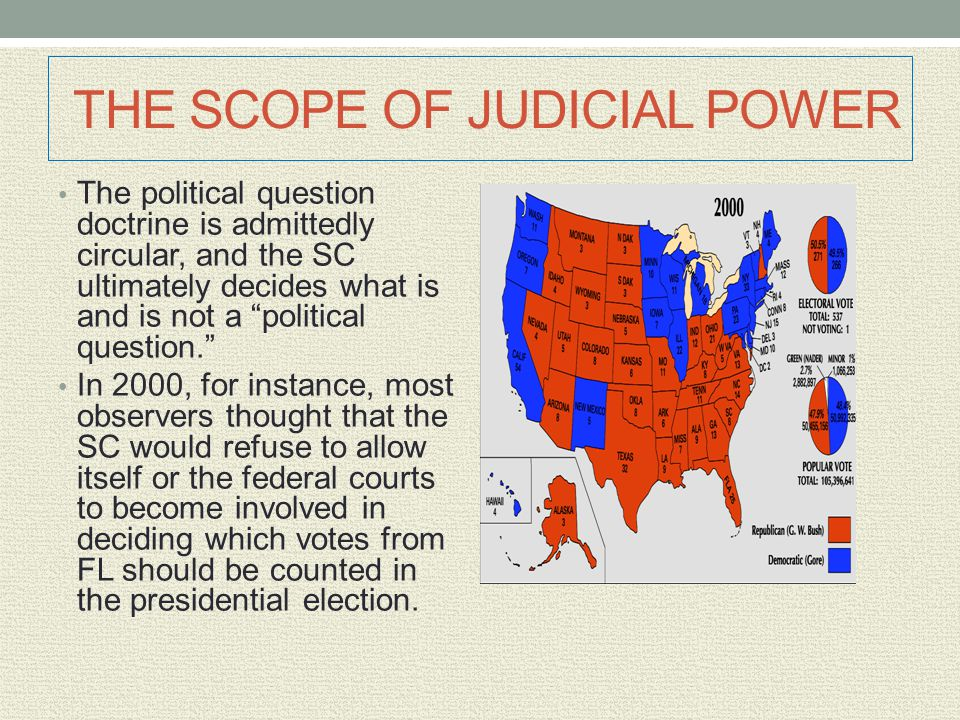 """THE SCOPE OF JUDICIAL POWER The political question doctrine is admittedly circular, and the SC ultimately decides what is and is not a """"political ques"""