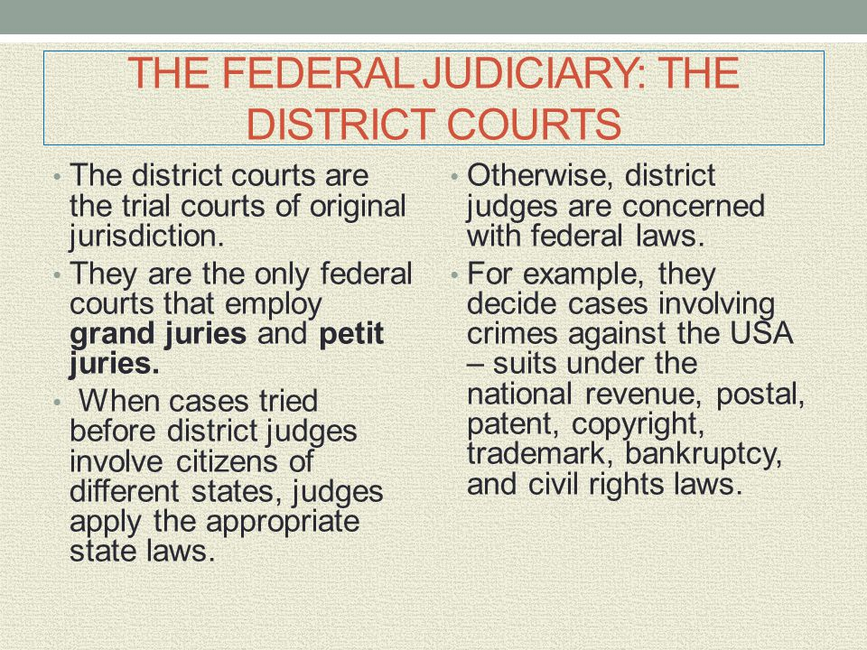 THE FEDERAL JUDICIARY: THE DISTRICT COURTS The district courts are the trial courts of original jurisdiction. They are the only federal courts that em
