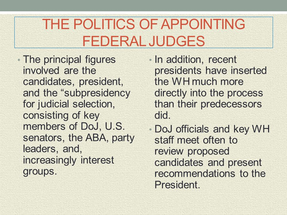 """THE POLITICS OF APPOINTING FEDERAL JUDGES The principal figures involved are the candidates, president, and the """"subpresidency for judicial selection,"""