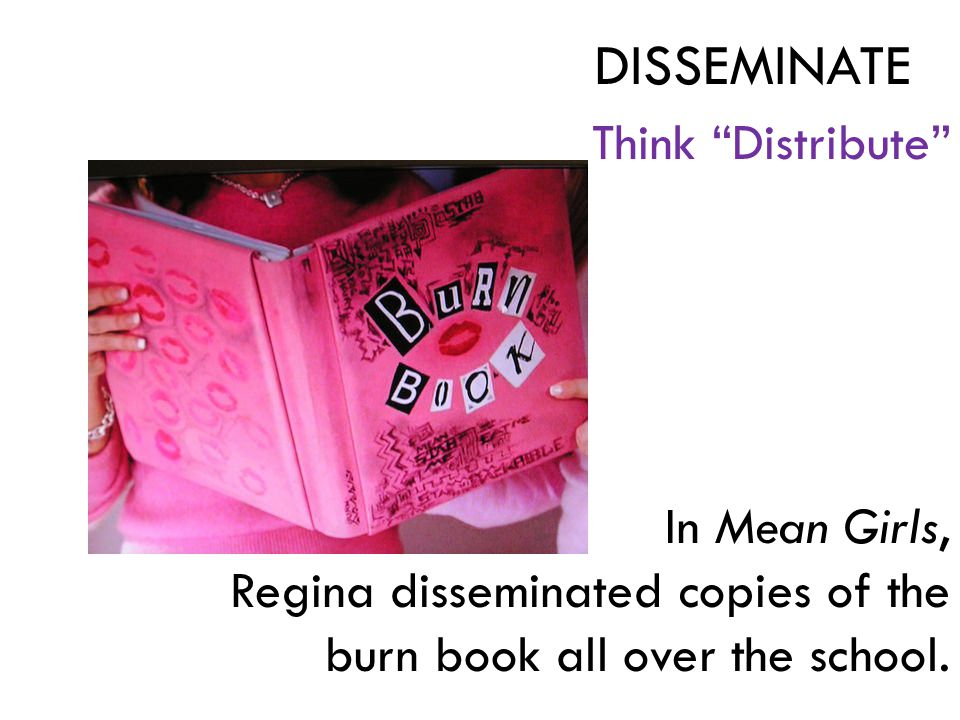 Think Distribute In Mean Girls, Regina disseminated copies of the burn book all over the school.