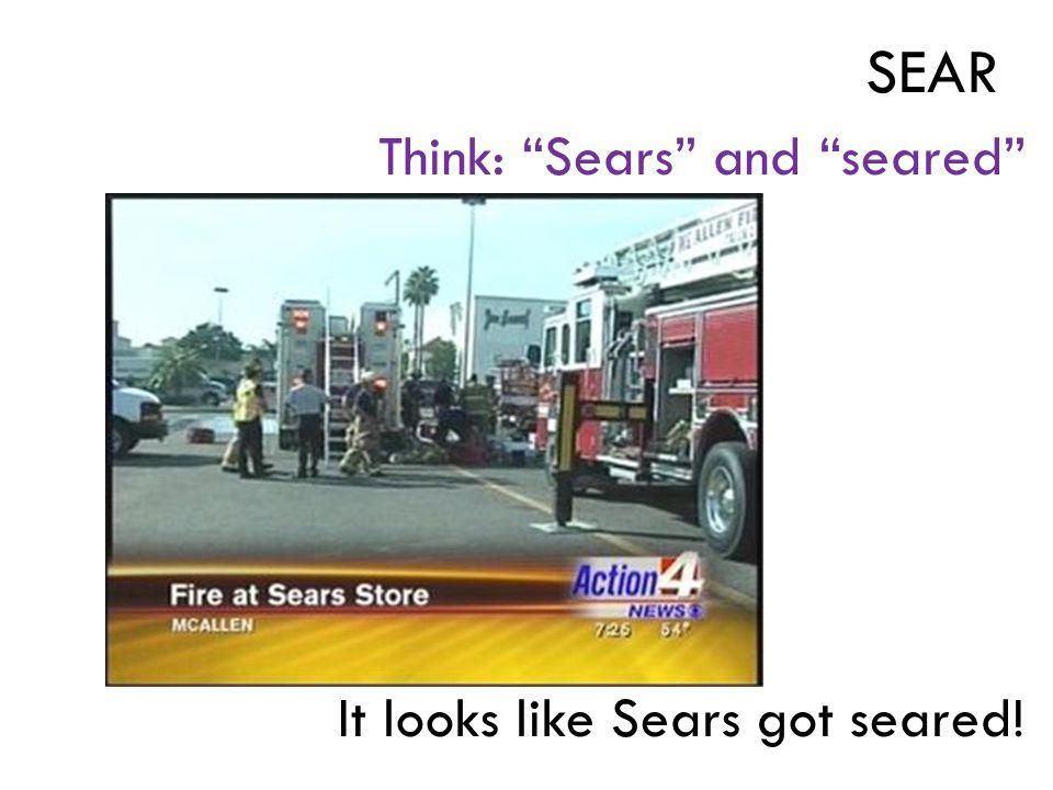 Think: Sears and seared It looks like Sears got seared! SEAR