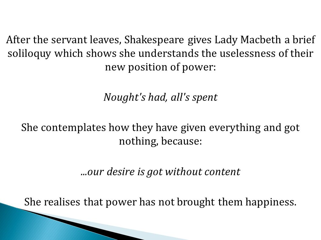 This is a key scene for a number of reasons: Firstly, Macbeth loses it and everybody sees that he has murdered Duncan.