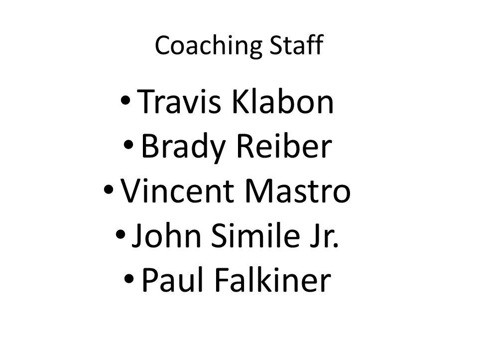Coaching Staff Travis Klabon Brady Reiber Vincent Mastro John Simile Jr. Paul Falkiner