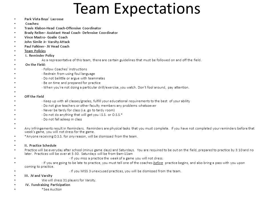 Team Expectations Park Vista Boys Lacrosse Coaches: Travis Klabon-Head Coach-Offensive Coordinator Brady Reiber- Assistant Head Coach- Defensive Coordinator Vince Mastro- Goalie Coach John Simile Jr- Varsity Attack Paul Falkiner- JV Head Coach Team Policies I.