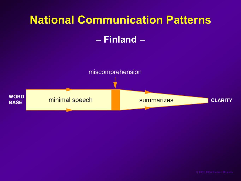© 2001, 2004 Richard D Lewis National Communication Patterns – Finland –
