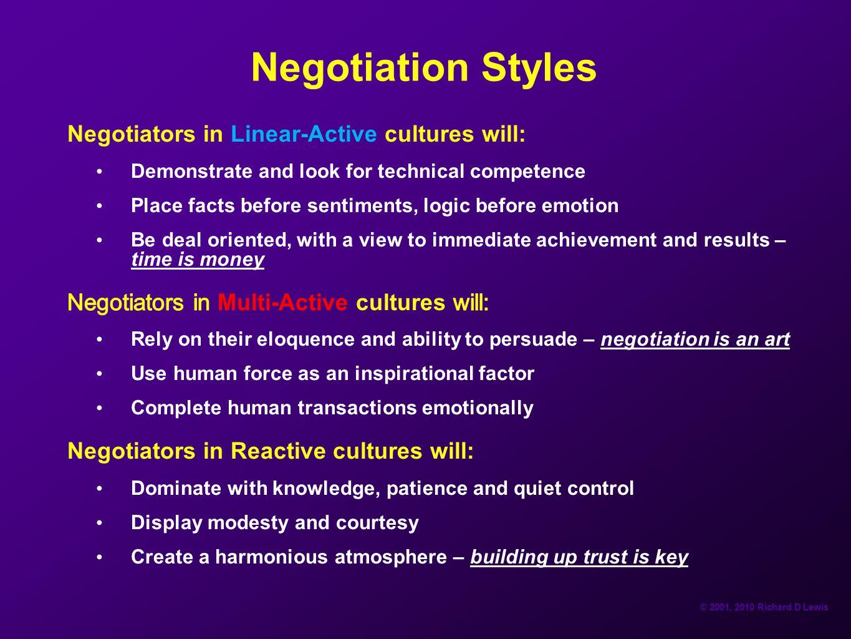 © 2001, 2010 Richard D Lewis Negotiation Styles