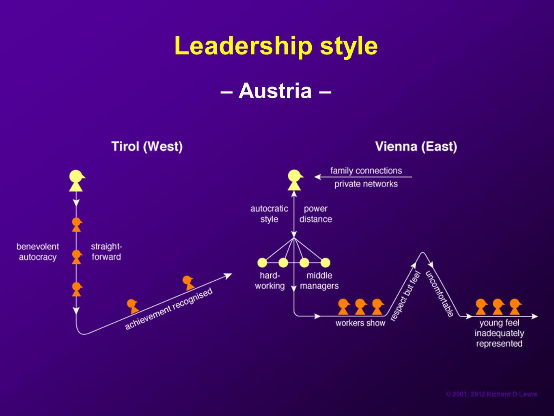 © 2001, 2012 Richard D Lewis Leadership style – Austria –