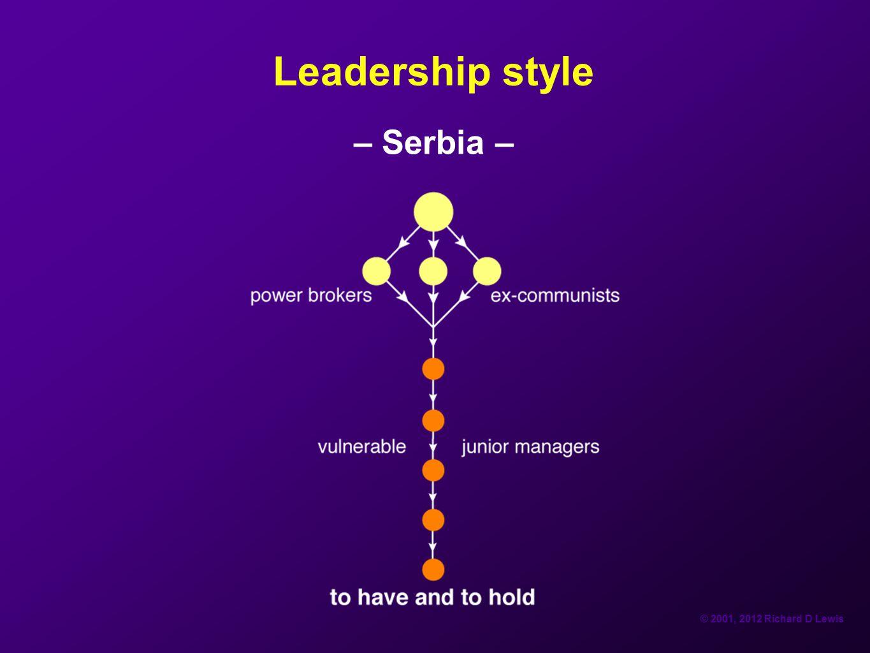 © 2001, 2012 Richard D Lewis Leadership style – Serbia –