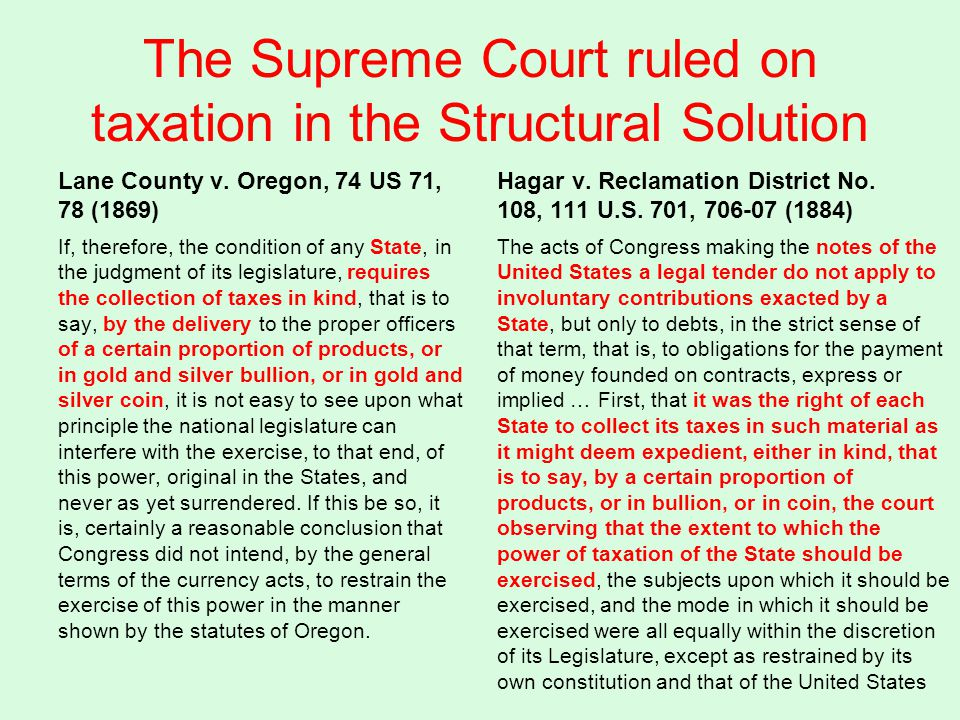 The Supreme Court ruled on taxation in the Structural Solution Lane County v.
