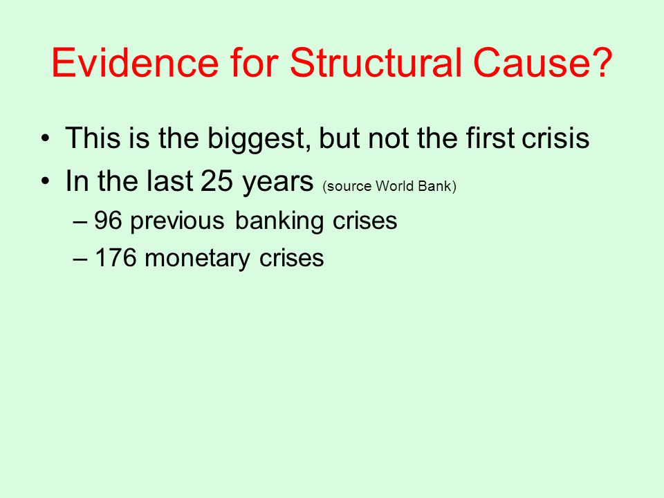 Evidence for Structural Cause.