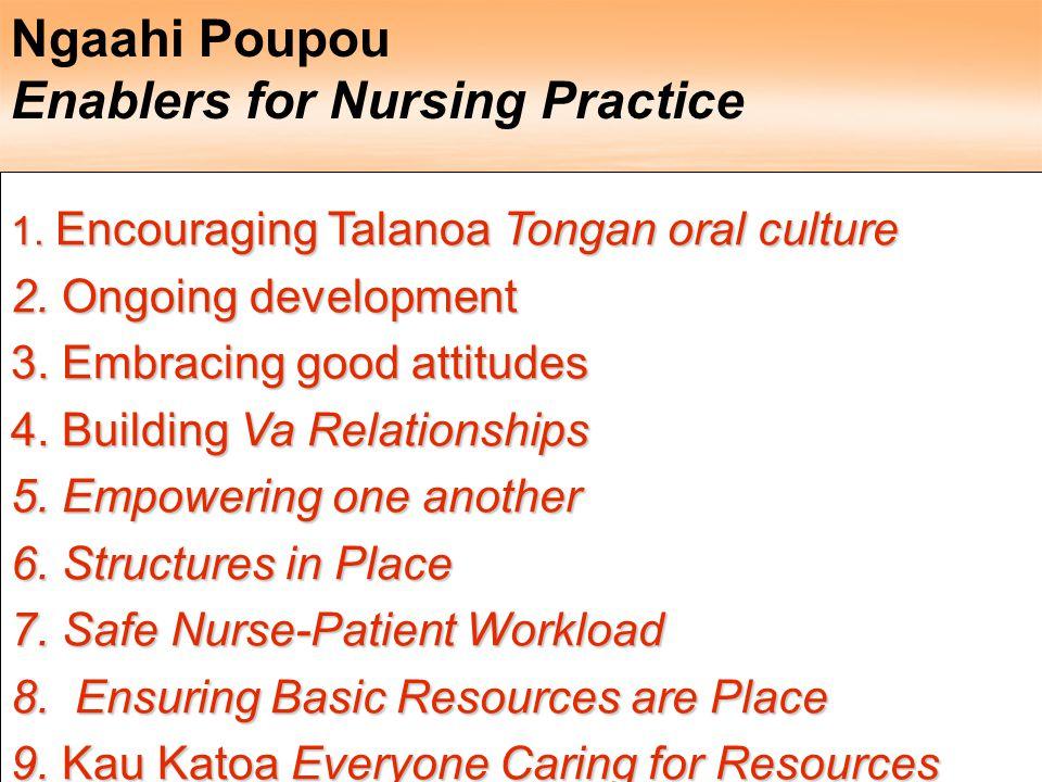 Ngaahi Poupou Enablers for Nursing Practice 1. Encouraging Talanoa Tongan oral culture 2. Ongoing development 3. Embracing good attitudes 4. Building