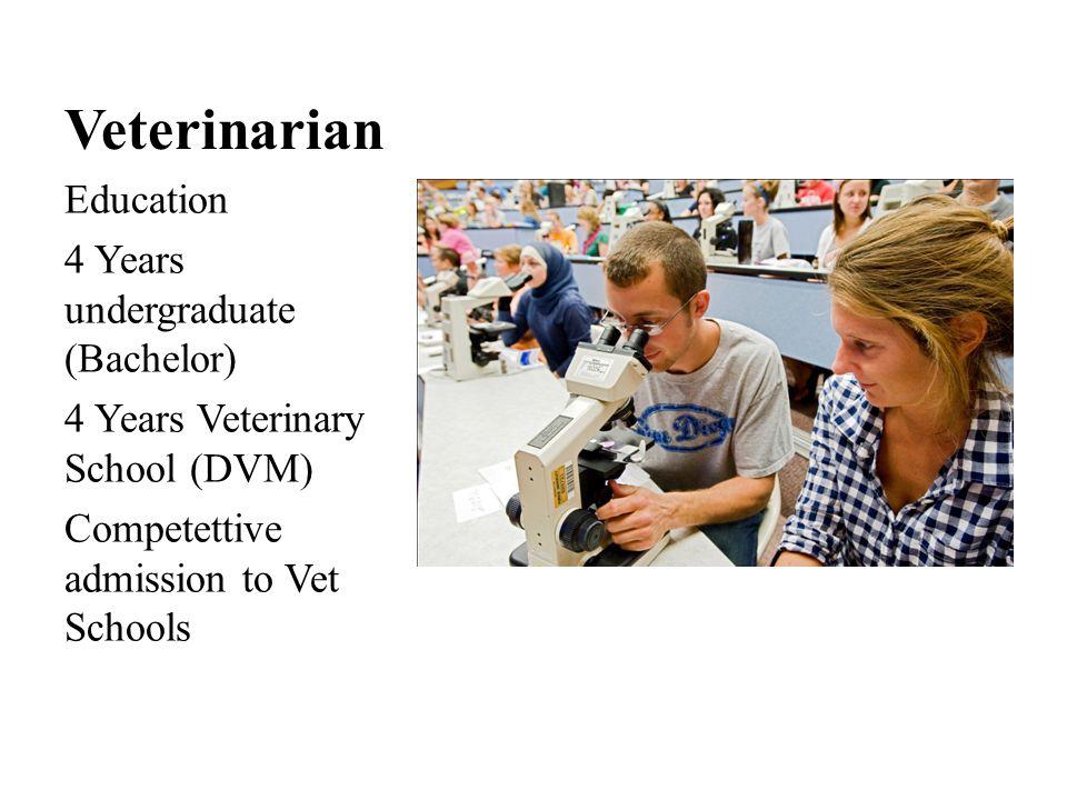 Veterinarian Education cost: Undergraduate $28,155 - $42,224 per year Veterinary School $18,000 - $38,000 tuition, plus books, fees, living