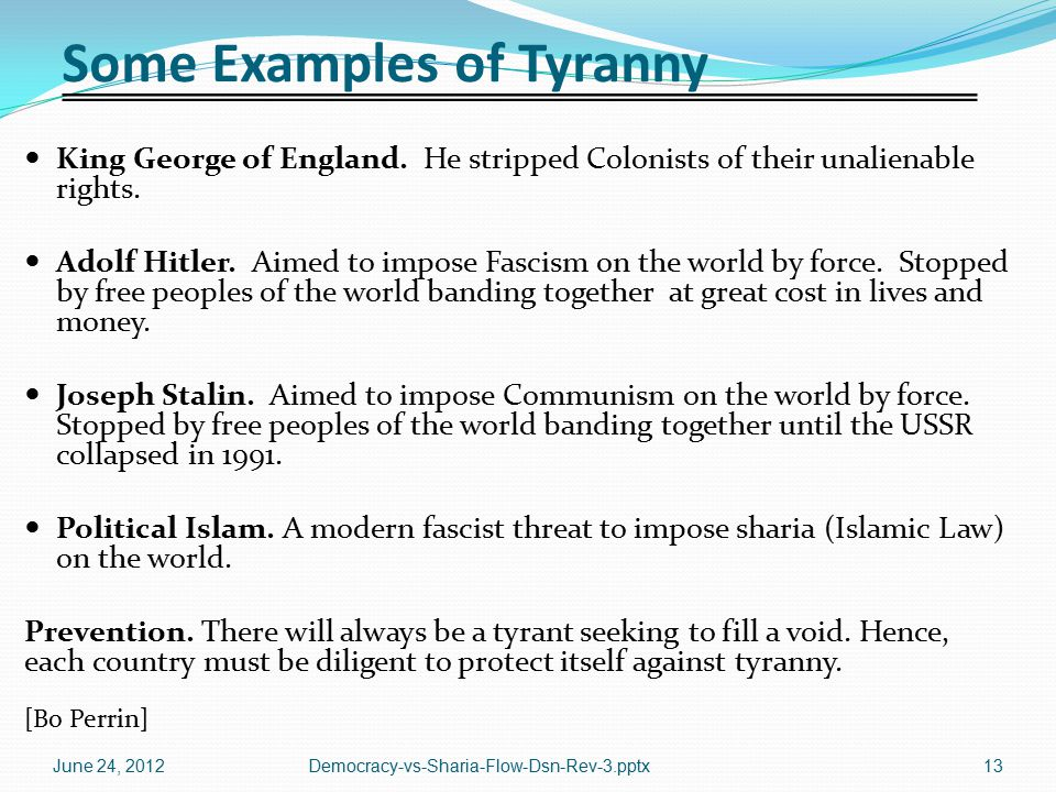 Some Examples of Tyranny King George of England. He stripped Colonists of their unalienable rights. Adolf Hitler. Aimed to impose Fascism on the world