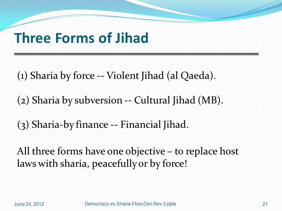 Three Forms of Jihad (1) Sharia by force -- Violent Jihad (al Qaeda). (2) Sharia by subversion -- Cultural Jihad (MB). (3) Sharia-by finance -- Financ