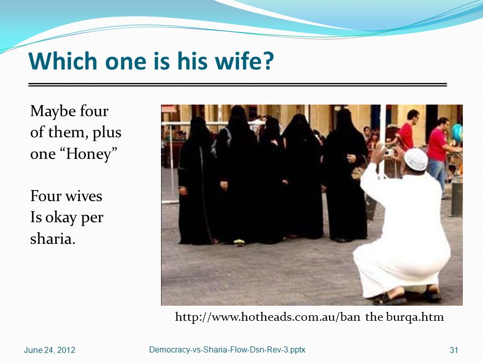 """Which one is his wife? Maybe four of them, plus one """"Honey"""" Four wives Is okay per sharia. http://www.hotheads.com.au/ban the burqa.htm June 24, 2012"""