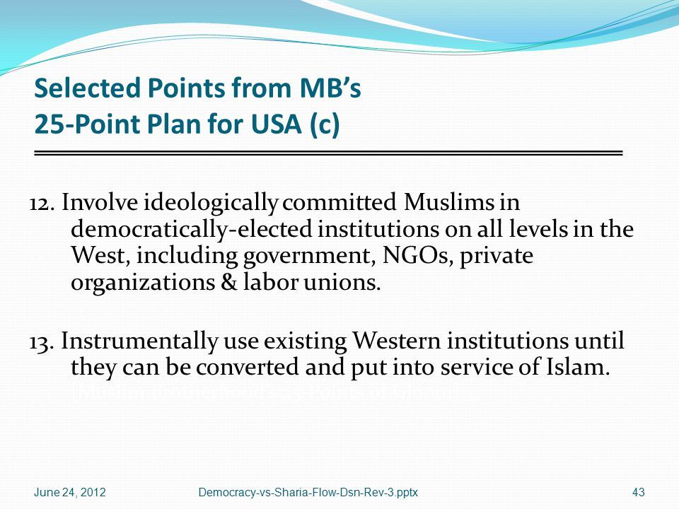 Selected Points from MB's 25-Point Plan for USA (c) 12.