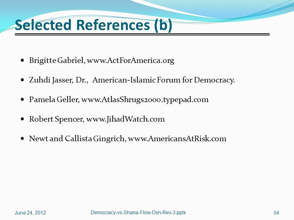Selected References (b) Brigitte Gabriel, www.ActForAmerica.org Zuhdi Jasser, Dr., American-Islamic Forum for Democracy. Pamela Geller, www.AtlasShrug