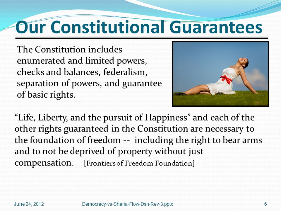 Our Constitutional Guarantees The Constitution includes enumerated and limited powers, checks and balances, federalism, separation of powers, and guarantee of basic rights.