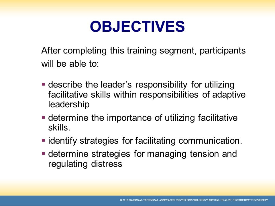 © 2010 NATIONAL TECHNICAL ASSISTANCE CENTER FOR CHILDREN'S MENTAL HEALTH, GEORGETOWN UNIVERSITY OBJECTIVES After completing this training segment, participants will be able to:  describe the leader's responsibility for utilizing facilitative skills within responsibilities of adaptive leadership  determine the importance of utilizing facilitative skills.