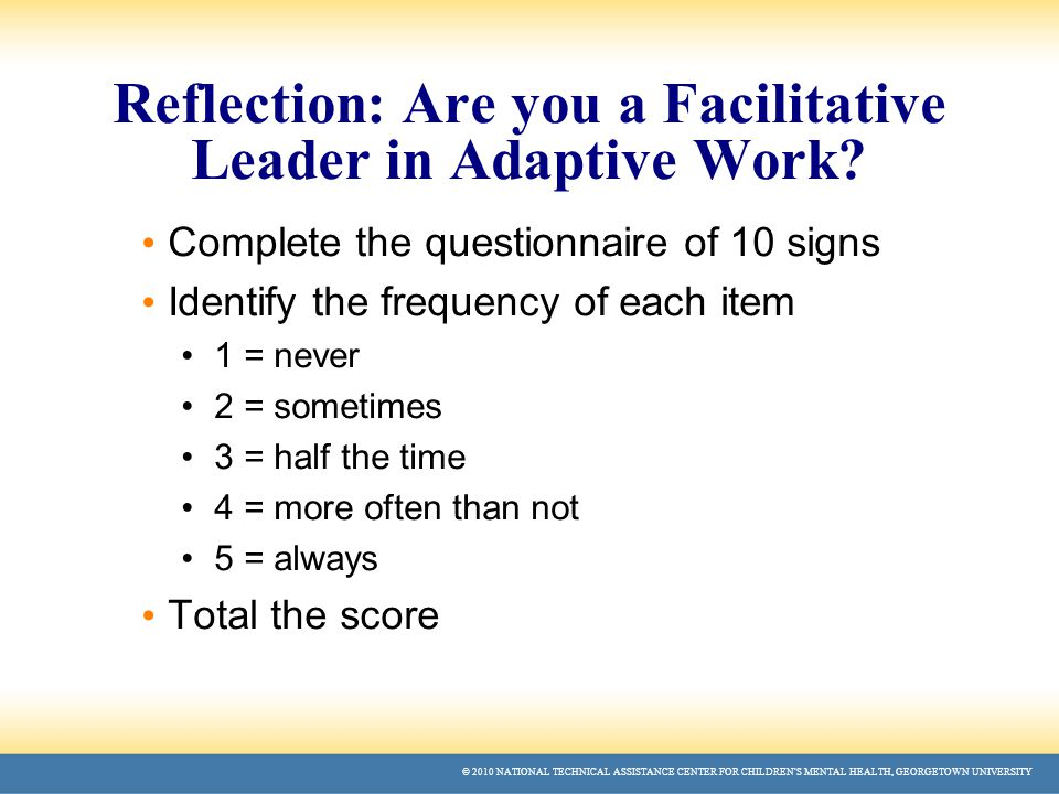 © 2010 NATIONAL TECHNICAL ASSISTANCE CENTER FOR CHILDREN'S MENTAL HEALTH, GEORGETOWN UNIVERSITY Reflection: Are you a Facilitative Leader in Adaptive Work.