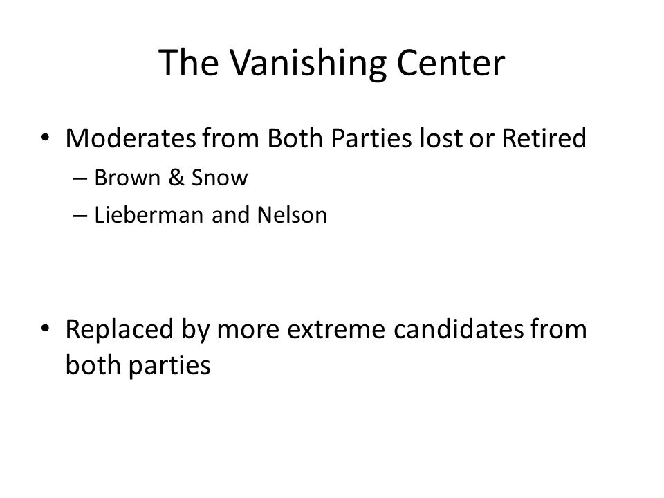 The Vanishing Center Moderates from Both Parties lost or Retired – Brown & Snow – Lieberman and Nelson Replaced by more extreme candidates from both p