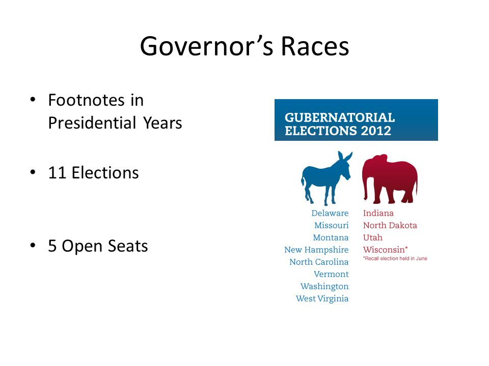 Governor's Races Footnotes in Presidential Years 11 Elections 5 Open Seats